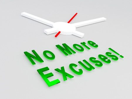 3D illustration of No More Excuses! title with a clock as a background