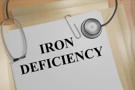 医療文書の「鉄欠乏」タイトルの 3 D イラストレーション