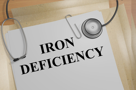 3D illustration of IRON DEFICIENCY title on medical document