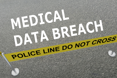breach: 3D illustration of MEDICAL DATA BREACH title on the ground in a police arena