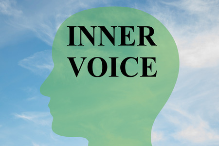 gut: Render illustration of INNER VOICE script on head silhouette, with cloudy sky as a background.