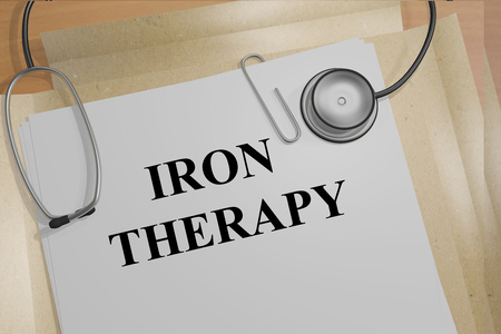 chelation: 3D illustration of IRON THERAPY title on medical document Stock Photo
