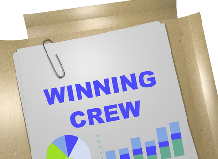 crew: 3D illustration of WINNING CREW title on business document Stock Photo