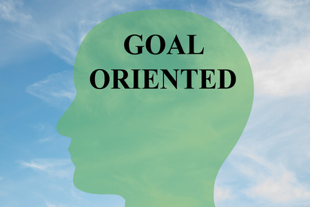 oriented: Render illustration of GOAL ORIENTED script on head silhouette, with cloudy sky as a background.