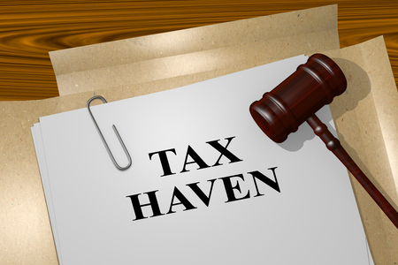 inequality: 3D illustration of TAX HAVEN title on legal document