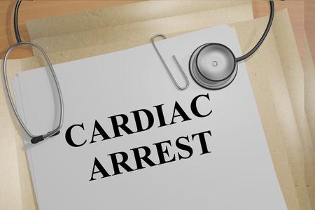 cardiac: 3D illustration of CARDIAC ARREST title on medical document