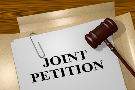 dissolution: 3D illustration of JOINT PETITION title on legal document Stock Photo