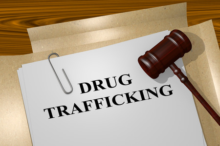 contagious: 3D illustration of DRUG TRAFFICKING title on legal document