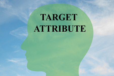 attribute: Render illustration of TARGET ATTRIBUTE script on head silhouette, with cloudy sky as a background. Stock Photo