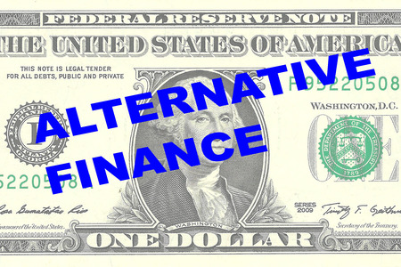 one dollar bill: Render illustration of ALTERNATIVE FINANCE title on One Dollar bill as a background