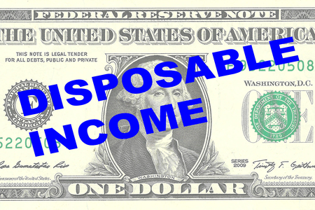 one dollar bill: Render illustration of DISPOSABLE INCOME title on One Dollar bill as a background