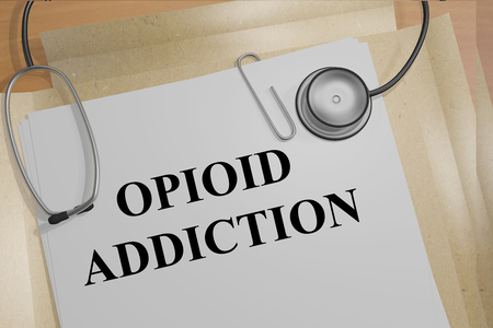 paranoia: 3D illustration of OPIOID ADDICTION title on medical document