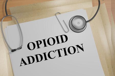 opioid: 3D illustration of OPIOID ADDICTION title on medical document