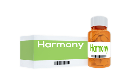 spring balance: 3D illustration of Harmony title on pill bottle, isolated on white.