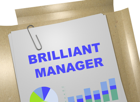 3d manager: 3D illustration of BRILLIANT MANAGER title on business document Stock Photo