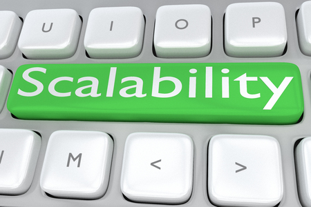 scalability: 3D illustration of computer keyboard with the print Scalability on a green button
