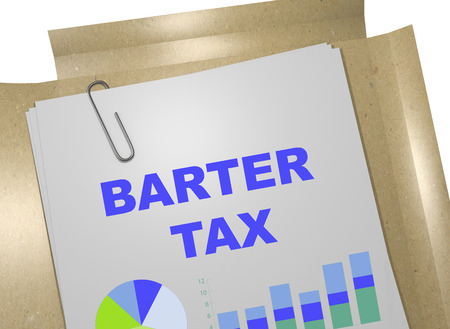 barter: 3D illustration of BARTER TAX title on business document