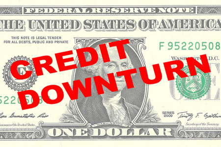 one dollar bill: Render illustration of CREDIT DOWNTURN title on One Dollar bill as a background