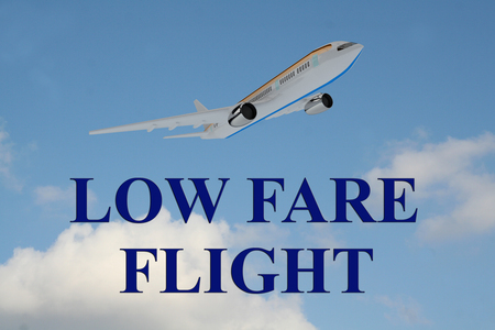 fare: Render illustration of LOW FARE FLIGHT title on cloudy sky as a background, under an airplane which is taking off.