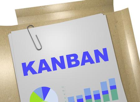 3D illustration of KANBAN title on business document