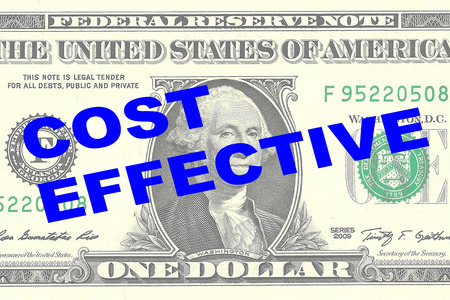 effective: Render illustration of COST EFFECTIVE title on One Dollar bill as a background