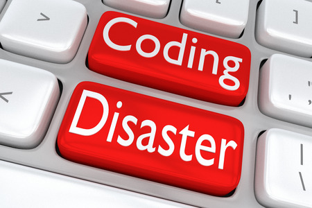 instability: 3D illustration of computer keyboard with the print Coding Disaster on two adjacent red buttons Stock Photo