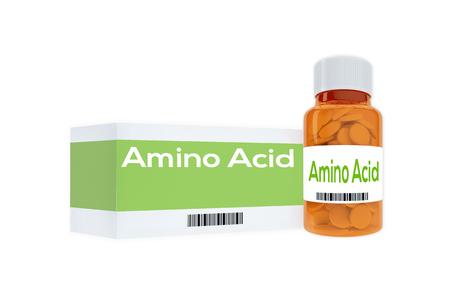 glutamate: 3D illustration of Amino Acid title on pill bottle, isolated on white. Stock Photo