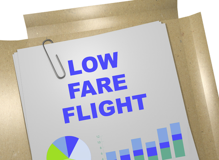 fare: 3D illustration of LOW FARE FLIGHT title on business document