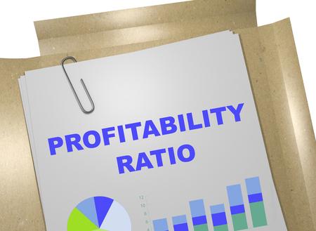 profitability: 3D illustration of PROFITABILITY RATIO title on business document