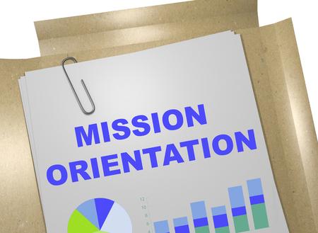 orientation: 3D illustration of MISSION ORIENTATION title on business document Stock Photo