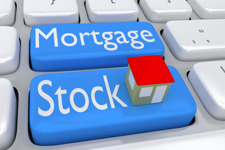 economic interest: 3D illustration of computer keyboard with the script Mortgage Stock on two adjacent pale blue buttons, and a house on one of these buttons.