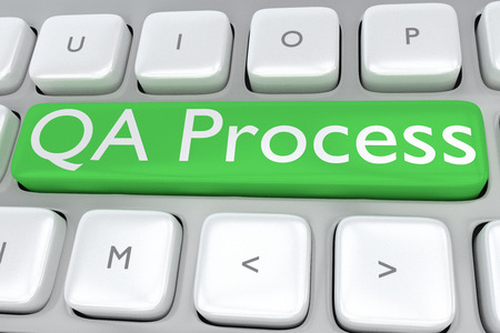 """control de calidad: Ilustración 3D del teclado de la computadora con la impresión """"QA Process"""" en un botón verde"""