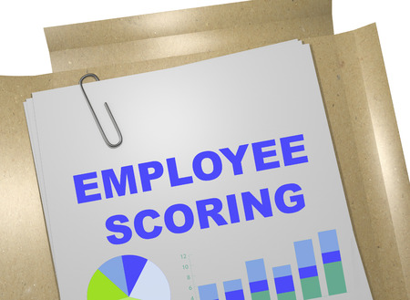 scoring: 3D illustration of EMPLOYEE SCORING title on business document