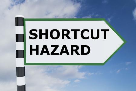 cut short: 3D illustration of SHORTCUT HAZARD script on road sign Stock Photo