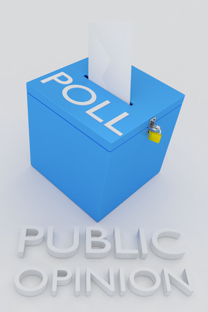 public opinion: 3D illustration of PUBLIC OPINION script, under a 3D model of a ballot, with POLL script on the ballot. Stock Photo