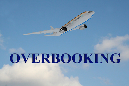 Render illustration of OVERBOOKING title on cloudy sky as a background, under an airplane which is taking off. Stock Photo