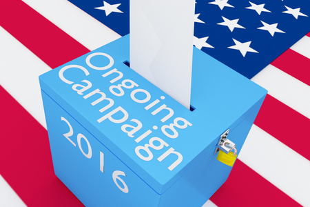 turnout: 3D illustration of Ongoing Campaign, 2016 scripts and on ballot box, with US flag as a background. Stock Photo