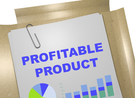 profitable: 3D illustration of PROFITABLE PRODUCT title on business document