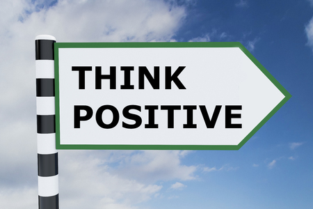 constructive: 3D illustration of THINK POSITIVE script on road sign Stock Photo