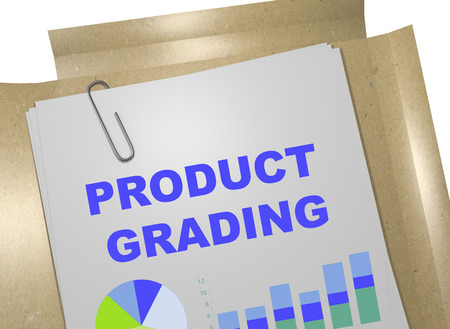 grading: 3D illustration of PRODUCT GRADING title on business document