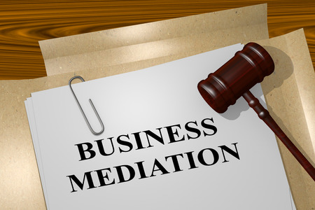 arbitration: 3D illustration of BUSINESS MEDIATION title on Legal Document