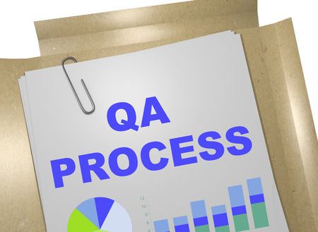 qa: 3D illustration of QA PROCESS title on business document