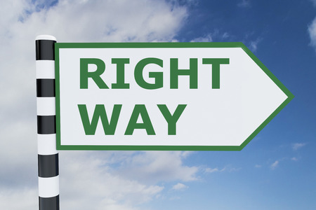 righteous: 3D illustration of RIGHT WAY script on road sign Stock Photo