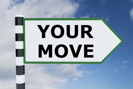 道路標識に「あなたの移動」スクリプトの 3 d イラストレーション 写真素材 - 61714405