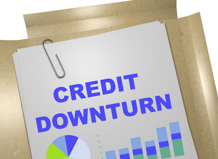 economic downturn: 3D illustration of CREDIT DOWNTURN title on business document