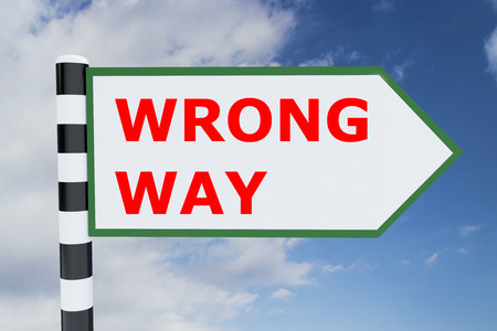 wrong way sign: 3D illustration of WRONG WAY script on road sign