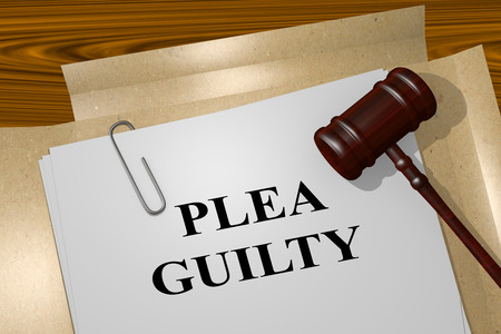 3D illustration of PLEA GUILTY title on legal document