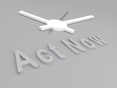 urge: 3D illustration of Act Now title with a clock as a background