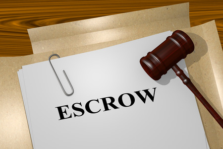 escrow: 3D illustration of ESCROW title on Legal Document Stock Photo