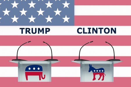 local council election: Render illustration of donkey and elephant icons on podium fronts, and US flag as a background.
